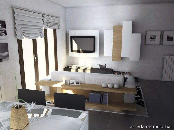 Soggiorno Side System e Divano Zen bianco-noce - DIOTTI A&F Arredamenti