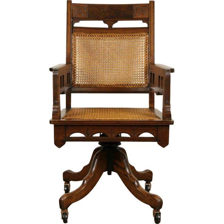 Victorian Eastlake Antique 1885 Walnut Adjustable Swivel Desk Chair Victorian Desks And