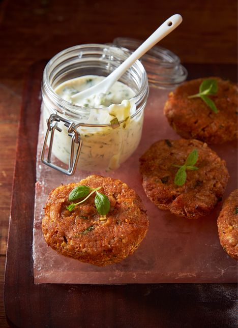 carrot patties with herby yoghurt dip