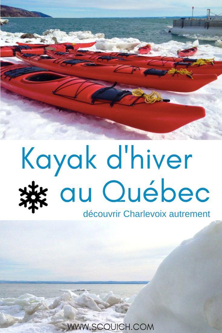 La région de Charlevoix, au Québec, se visite aussi en hiver. C'est l'occasion d'y pratiquer le kayak d'hiver sur le fleuve Saint-Laurent, avec la neige et la glace! Amateurs de plein air, c'est à essayer! #quebecoriginal#quebec#voyage#hiver#pleinair