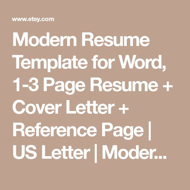 Modern Resume Template for Word, 1-3 Page Resume + Cover Letter + Reference Page | US Letter | Modern Cv Template | INSTANT DOWNLOAD