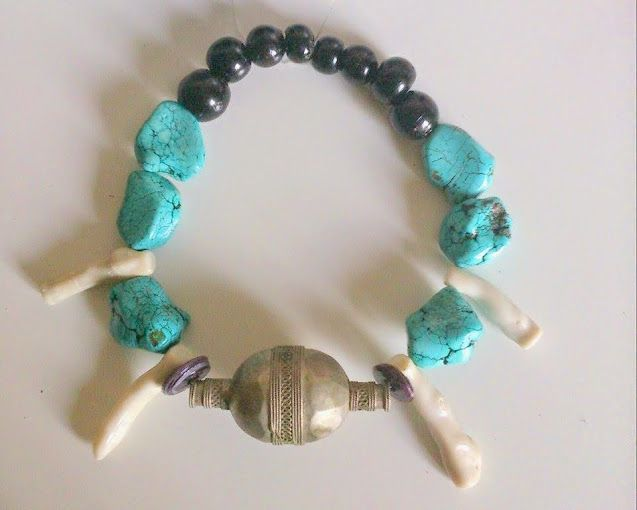 Chunky turquoise, huge turkoman silver focal bead, glass beads https://www.etsy.com/shop/FanmMon
