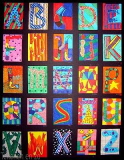 Gezamenlijk het alfabet maken. Elk kind een letter (A-6 formaat - alles omlijnen…