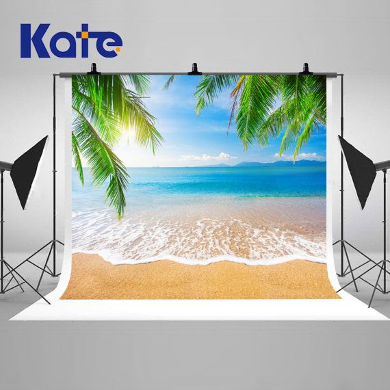 Coconut Tree Sunny Tropical Beach Photography Backdrops Beautiful Island Photo Backgrounds for Romatic Wedding Vacation Studio Props