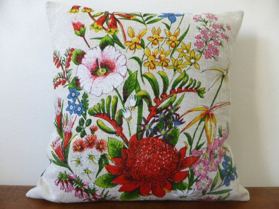 Australian Wildflowers Cushion Cover Waratah by Lapideum on Etsy