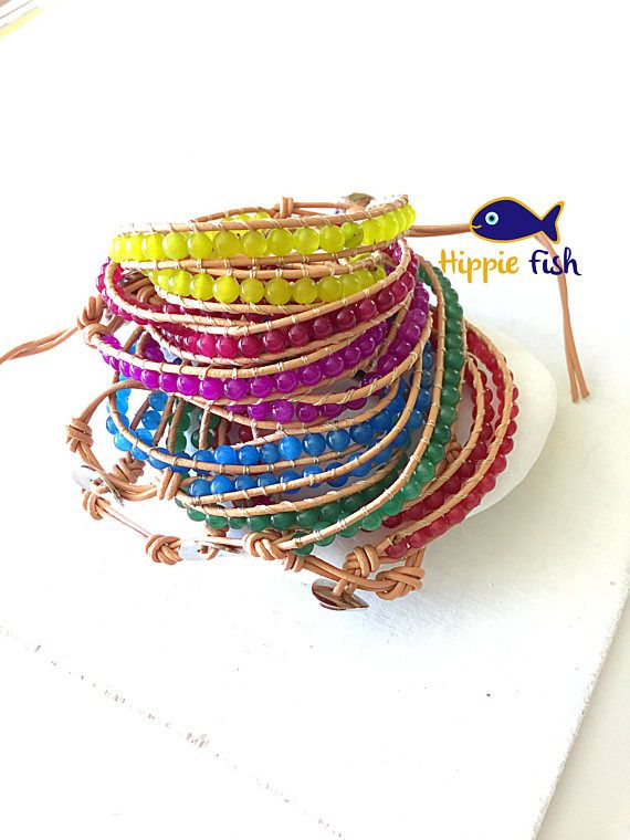 Leather wrap bracelet double wrap bracelet leather