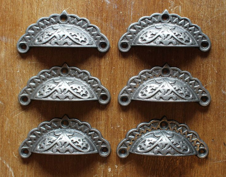 6 x antique cast iron drawer cup pull handle door cupboard victorian dp09x6