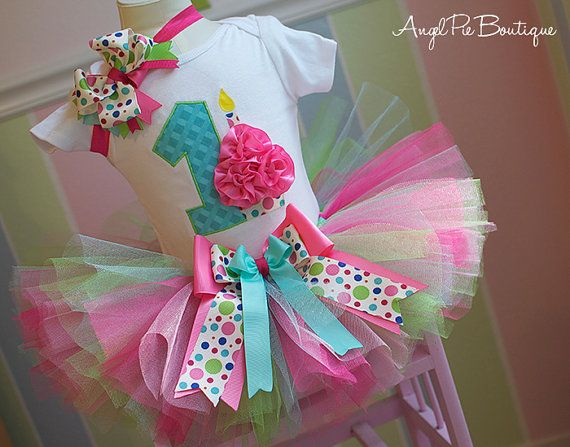 """Baby Girl's First Birthday Outfit - Number """"1"""" Applique with Small Cupcake Onesie, Tutu & Matching Headband - Blue, Green, Pink and Fuchsia on Etsy, $60.99"""