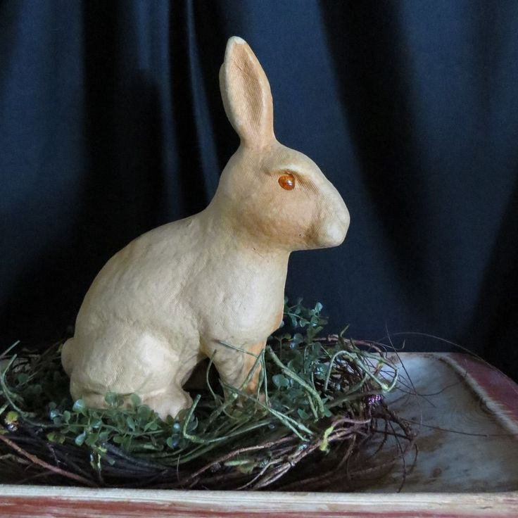 Vintage Papier Mache Tan Bunny Rabbit Glass Eyes Candy Container Easter c. 1930'