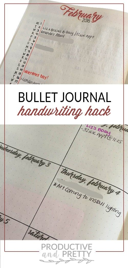 Bullet Journal Handwriting Hack