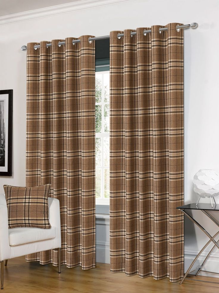 THICK DELUXE THERMAL NATURAL TARTAN CHECK MODERN RING TOP EYELET HUGO CURTAINS