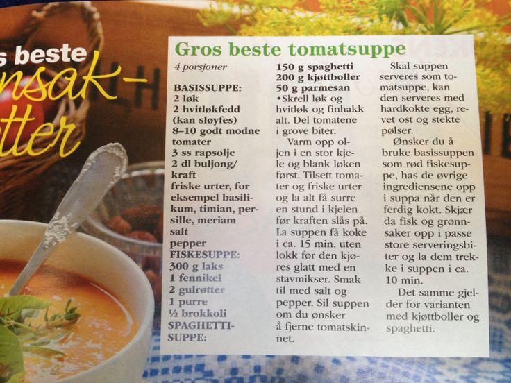 Basissupp til - tomatsuppe, tomatisert fiskesuppe eller suppe med kjøttboller og spagetti