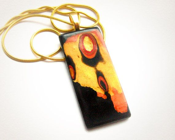 Free S&H Polymer clay necklace pendant Mokume Gane by GanderAwhile