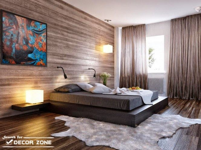 bedroom design in minimalist style with black platform bed and stony wall