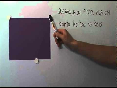 Suorakulmion piiri ja pinta-ala - YouTube (video 1:54).