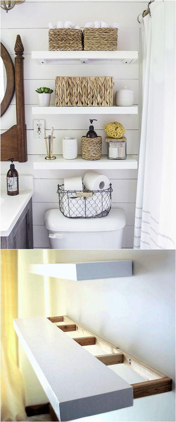 Unique design options for diy floating shelves beautiful - Bathroom storage ideas small spaces ...