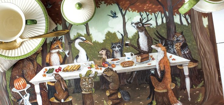 Friends of all species gather around the table for a thanksgiving feast in this charming tableau by Elizabeth Foster.  - 30 sheets per pack - Designed and made in the USA