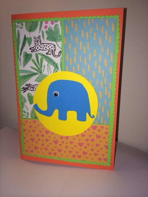 Gift card ; DIY; little blue elephant ;jungle ;baby craft