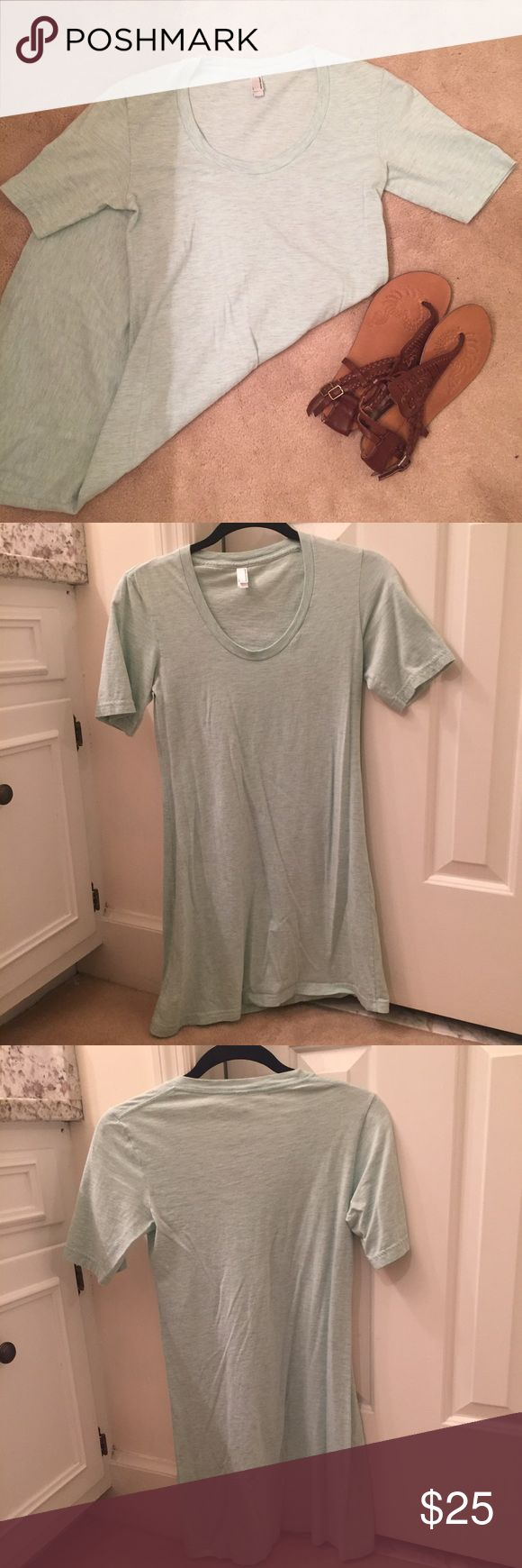 American Apparel T-Shirt Dress Super cute tee dress that can go from day to night. It's a light mint green. American Apparel Dresses