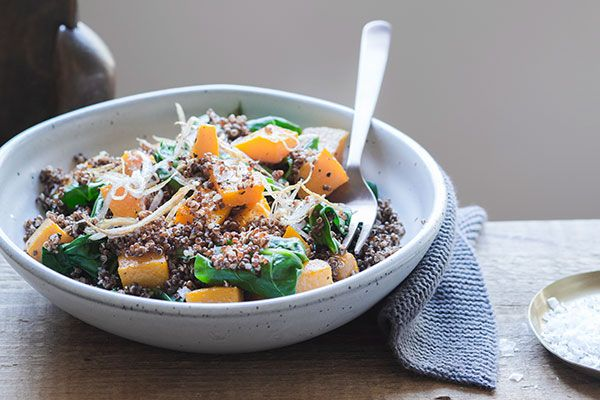 Red quinoa with roasted butternut pumpkin, greens and crispy shallots – Bite