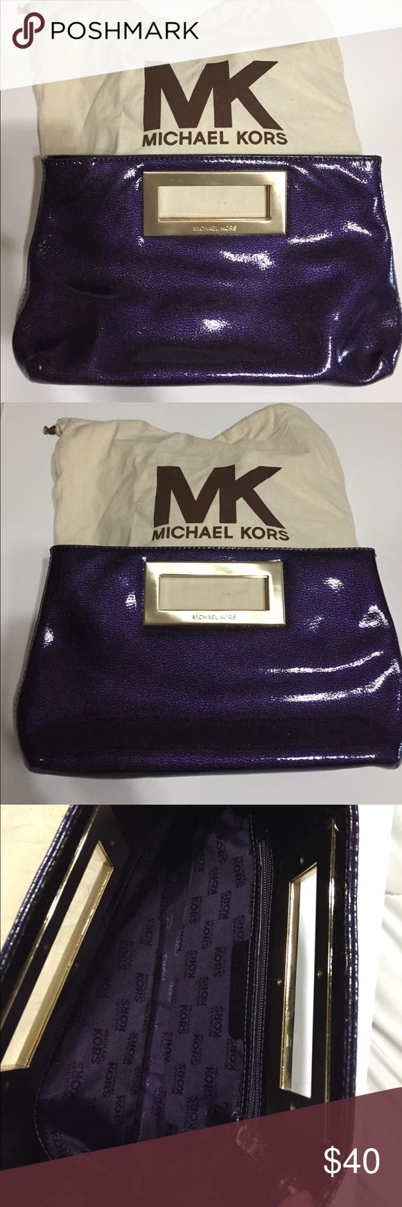 Michael Kors Purple Clutch Michael Kors Purple Clutch w/champagne gold hardware, one zippered pocket inside, & snap enclosures.  There's a very teeny tiny white spot as shown in picture #7 & a tiny scratch on handle as shown in picture #8.  Otherwise the clutch is like new.  Price is firm. Michael Kors Bags Clutches & Wristlets