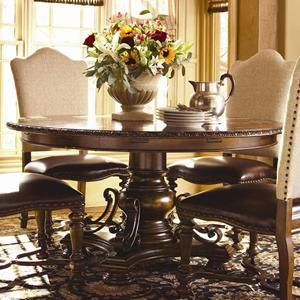 Bolero Seville Round Dining Table In Old World | Nebraska Furniture Mart Part 74