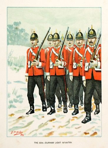 G. D. Giles The 68th - Durham Light Infantry (From 'Her Majesty's Army')  Original chromolithograph in colours, published by J.S. Virtue & Co., London, 1890-91. #troopingthecolour
