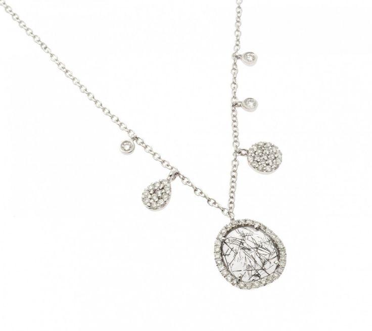 Cadena de oro blanco con colgantes de oro blanco, diamantes y cuarzo rutilado.