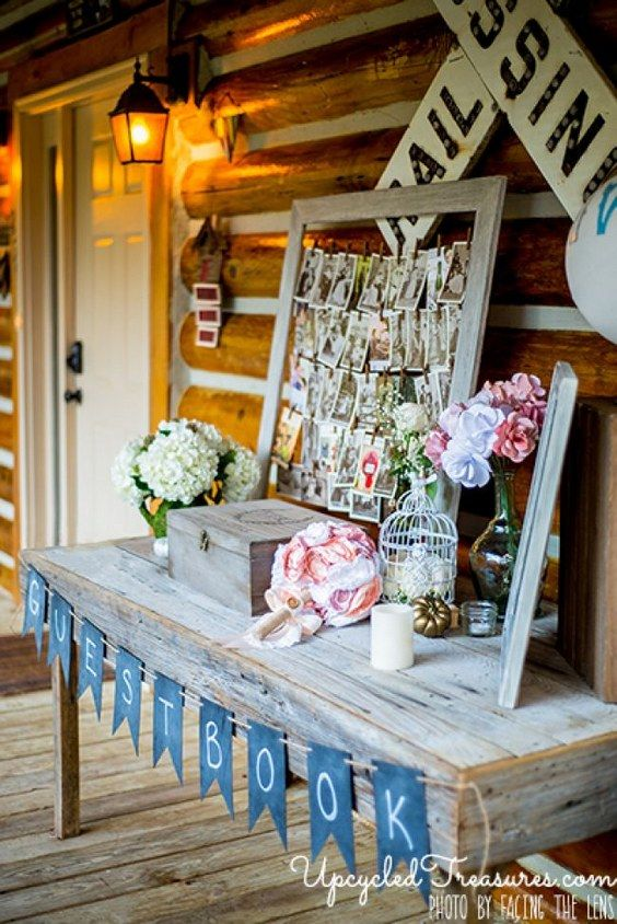 wedding guest sign in table // http://www.deerpearlflowers.com/vintage-frames-wedding-decor-ideas/2/