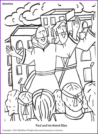 coloring paul and his friend silas kids korner biblewise