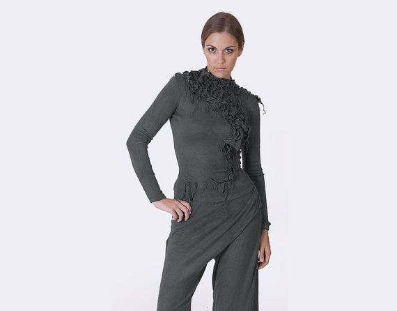 Top blouse gray blouse asymmetric blouse top 3D by AnnaPerena, $92.00