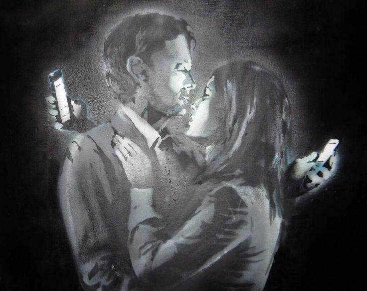 "Banksy ""Mobile Lovers"" New Mural - Bristol,UK"