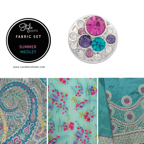 While the largest crystal in the Summer Medley Dot is fuchsia, there are also teal, purple and pink complimentary-colored crystals - so this matches a wider number of outfits.