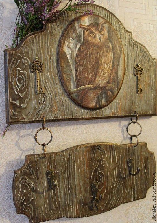 Купить ключница - коричневый, Ключница декупаж, ключница, подарок на любой случай, деревянная ключница