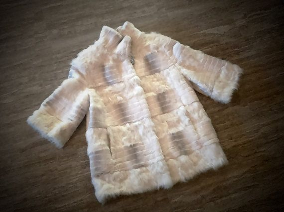 Fur jacket/ Real rex fur with goat fur/ white color