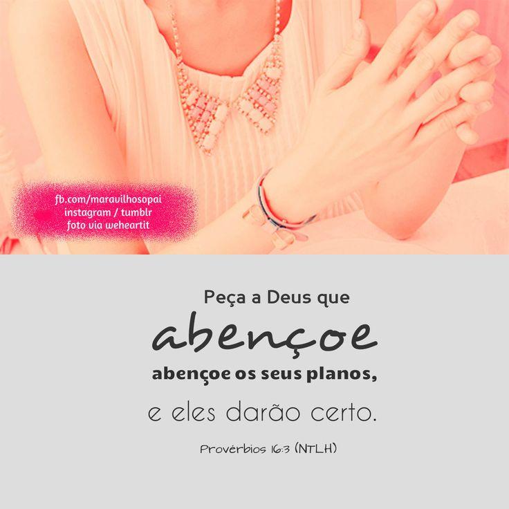Peça a Deus que abençoe os seus planos, e eles darão certo. Provébios 16:3