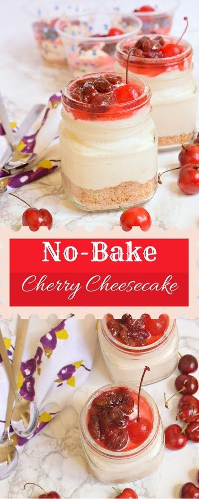 Eggless cherry Cheescake in 15 Minutes