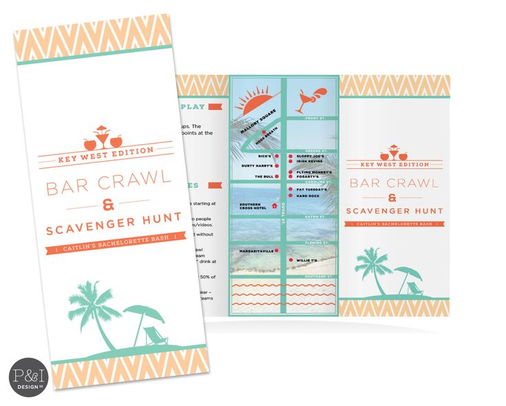Bar Crawl Scavenger Hunt | Destination (Key West) |  Bikini Chevron Bachelorette Game/  Customized Printable by paperandinkdesignco on Etsy https://www.etsy.com/listing/197401381/bar-crawl-scavenger-hunt-destination-key