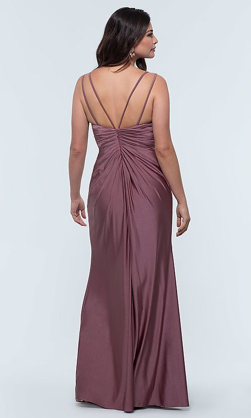 ae7fef9be83 Long Jersey V-Neck Kleinfeld Bridesmaid Dress in 2019