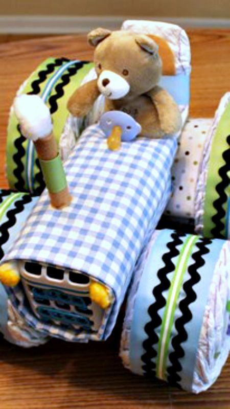 How to Make a Tractor Diaper Cake
