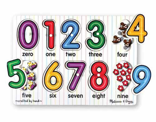 Hello Charlie - Melissa & Doug See Inside Numbers Peg Puzzle, $12.95. (http://www.hellocharlie.com.au/melissa-doug-see-inside-numbers-peg-puzzle/). Brightly coloured numbers are great for number recognition, and the pictures under the numbers are great for early counting practice.