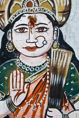Portrait of Goddess Parvati (Spouse of Shiva) on a Wall in Varanasi
