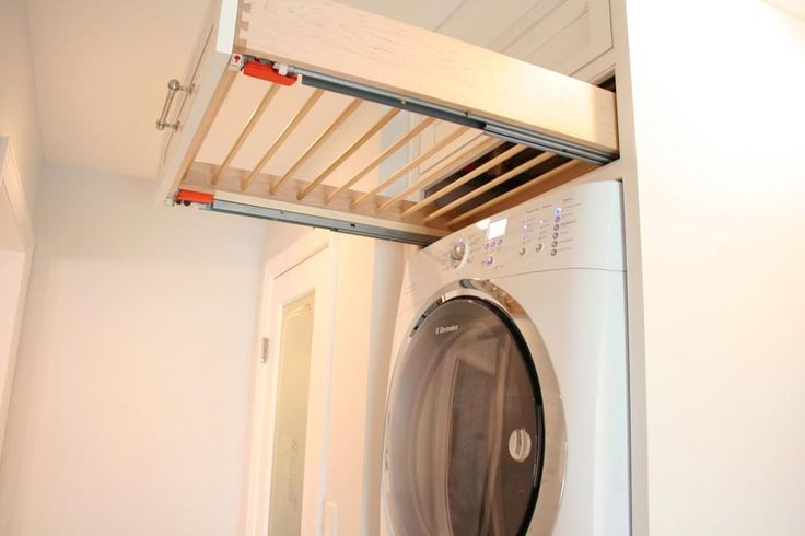 laundry - painted white maple Oxford Cabinetry, BM Genisis White walls - drying rack