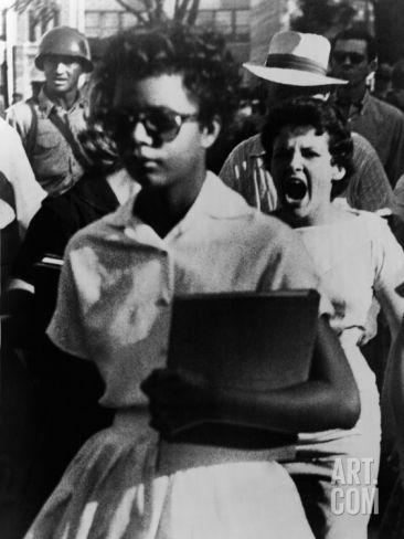 Elizabeth Eckford Is Harassed as She Enters Little Rock Central High, Sept 6, 1957 Premium Poster at Art.com