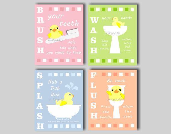 kids bath wall art rubber ducky prints bathroom rules rubber duck bath art