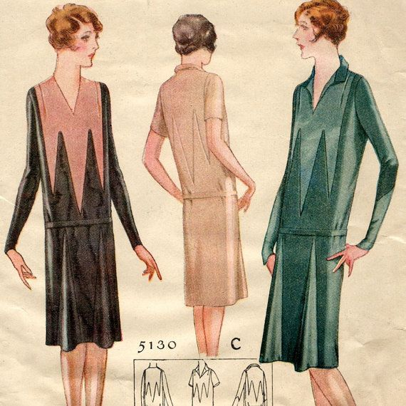 Late 1920s dress pattern with Deco contrast  by PatternVault, $50.00