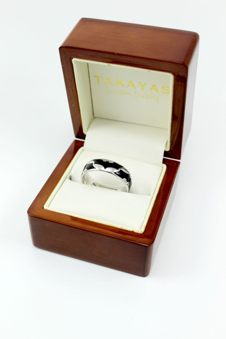 batman rings batman wedding ring Takayas Custom Jewelry 14K white gold batman ring with black enamel