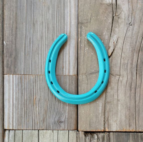 Looking for some lucky, spring decorating inspiation?  Our teal horseshoes fit any western decor! Double click for more details! https://www.etsy.com/listing/195995603/teal-horseshoes-powder-coat-paint