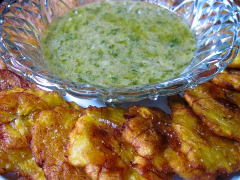 fried green plantains (tostones) with garlic mojo dipping sauce