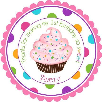 Colorful cupcake with sprinkles personalized stickers party favor labels address labels birthday stickers wide polka dot border